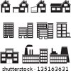 set of buildings: office, house, factory. - stock photo