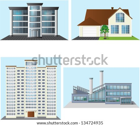 set of buildings: office, house, factory. - stock vector
