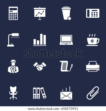 Set 16 Work Icons Setcollection Telephone Stock Vector 670284826