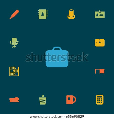 Set Of 13 Bureau Icons Set.Collection Of Time, Case, Calculate And Other Elements.