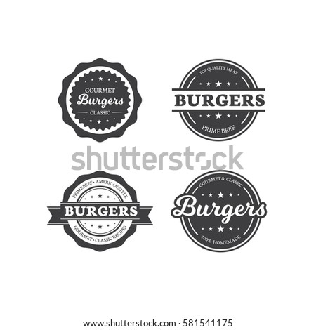 Set of Burger Labels