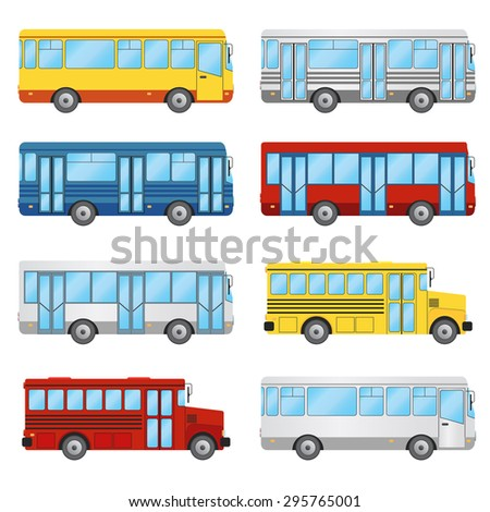 Set of buses on the white background. Public transport, tourism, school bus.