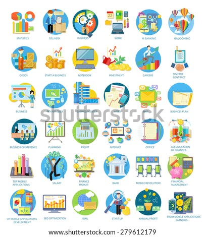 Set of busines round icons in different items such as business plan, statistics, business conference, balooning, top mobile applications, earnings from mobile applications in flat on white background - stock vector
