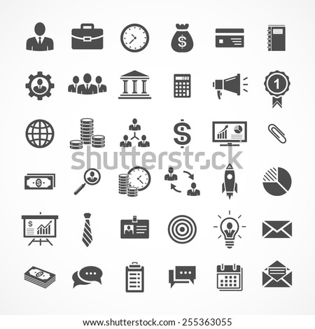 Set of business and finance icons. Vector illustration - stock vector