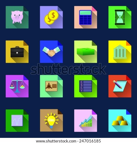 Set of business and finance multicolored icons with long shadows, flat design - stock vector