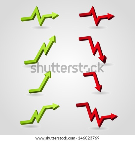 set of business arrow graph , vector illustration eps - stock vector