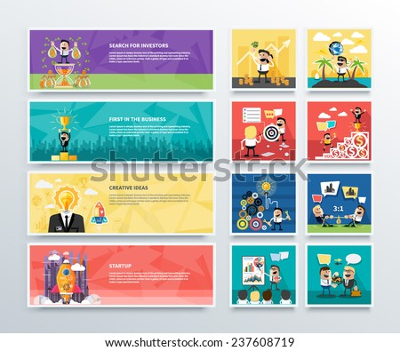 Set of business banners of search for investors, first in business, creative ideas and start up in flat design. Happy businessman - stock vector