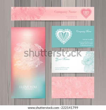 Set of business card and invitation card template. Vector background.  Vintage design elements. Wedding  - stock vector