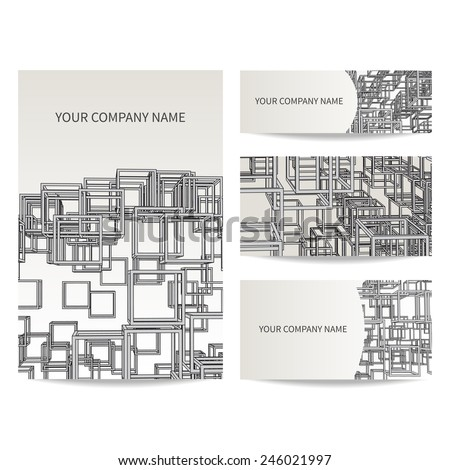 Set business card invitation card templates stock vector royalty set of business card and invitation card templates architecture and construction concept vector design stopboris Choice Image