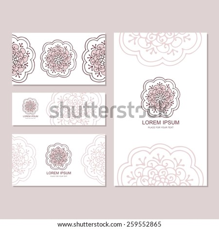 Set of business card and invitation card templates with lace ornament. Vector background. Hand-drawn flowers. Oriental motifs. Wedding or save the date hand drawn background. - stock vector