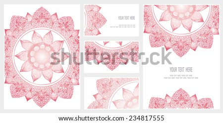 Set of business card and invitation card templates with lace ornament. Vector background. Indian, Arabic, Islam motifs. Vintage design elements. - stock vector