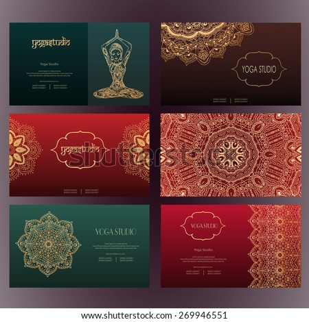 Set business card invitation card templates stock vector royalty set of business card and invitation card templates with lace ornament yoga center indian reheart Image collections