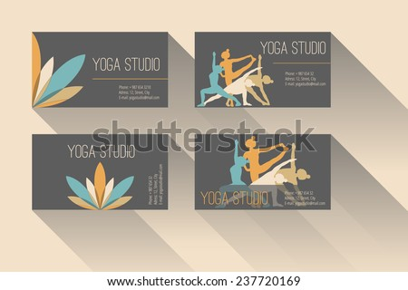Set of business card for yoga studio or yoga instructor. Dark background. - stock vector