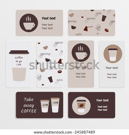 Set of business card in coffee theme - stock vector