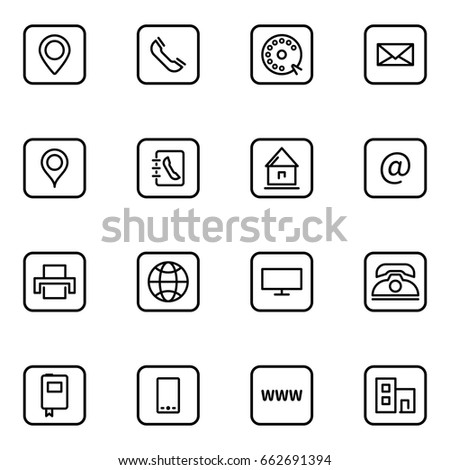 Set business card vector thin line stock vector 662691394 set of business card vector thin line icons reheart Gallery