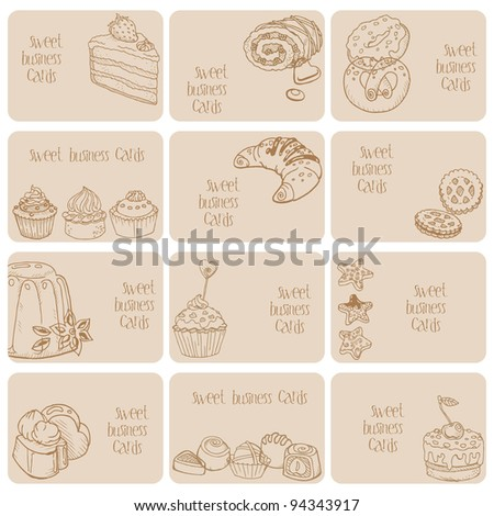 Set of Business Cards. Cakes, Sweets and Desserts, hand drawn in vector