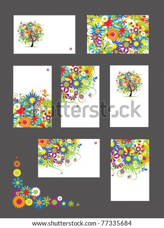 Set of business cards, floral ornament for your design - stock vector