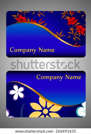 Set of business cards. Floral ornament on a blue background. vector - stock vector