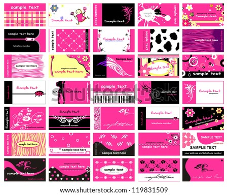 Set of 35 business cards for ladies - stock vector