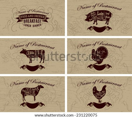 set of business cards for restaurant menus and advertising - stock vector