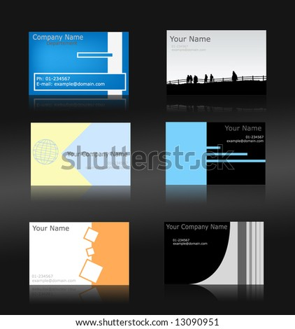 Set of 6 business cards (fully editable) - stock vector