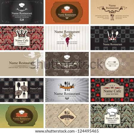 set of business cards on the topic of food and beverages - stock vector