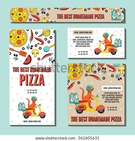 Set of  business cards or flyers with an image of ingredients for pizza and fun cat on the scooter as a pizza delivery vehicles.Vector illustration Fast-food business, pizza or other menu.  - stock vector