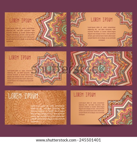 Set of business cards samples. Patterns of ancient America. Grunge effect. - stock vector