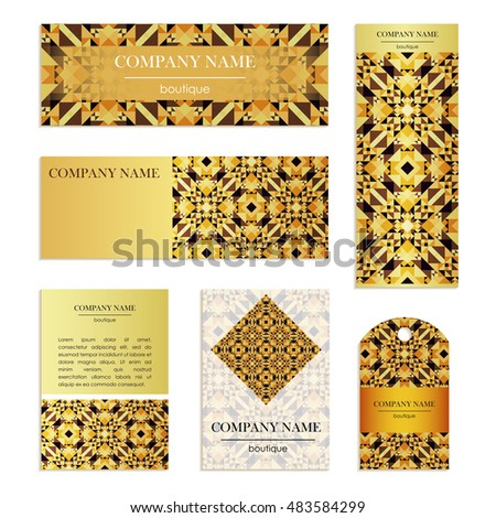 Set of business cards. Template of cover design color mosaic pattern. Colored vector illustration for corporate identity, individual cards, form style.