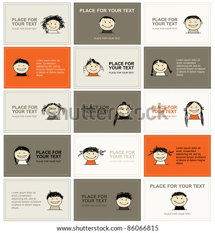 Set of business cards with faces for your design - stock vector