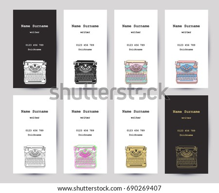 Set business cards hand drawn vintage stock photo photo vector set of business cards with hand drawn vintage typewriter for writers screenwriters editors reheart Choice Image