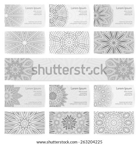 Set of business cards with original circular ornaments in grayscale. Stylish visiting cards decorated with mandala. Banner decorated with round ornament. - stock vector