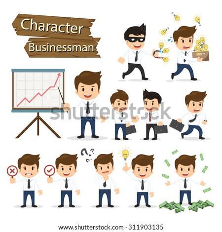 Set of business character expressing feeling and emotional concept vector illustration. - stock vector