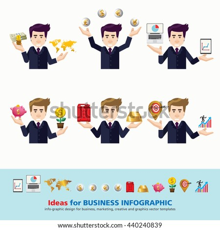 Set of business character expressing feeling and emotional concept vector illustration. for Marketing, Business, Power point, Advertising, Graphic work-flow layout, diagram, banner, web design. - stock vector