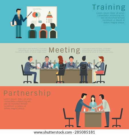 Set of business concept, training, meeting, agreement or partnership. Character of businesspeople, group, diverse, multi-ethnic. Simple and flat design. - stock vector
