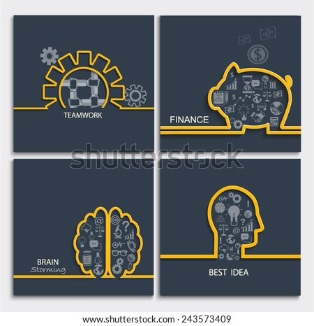Set of business concepts - brainstorming, teamwork, idea, finance, vector illustration. - stock vector