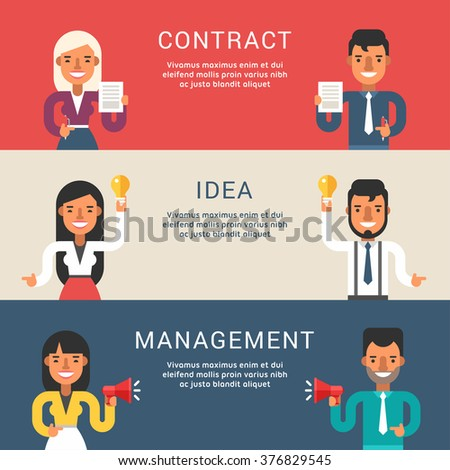 Set of Business Concepts for Web Banners with Cartoon Businessman Character. Contract, Idea, Management. Vector Illustration in Flat Design Style - stock vector