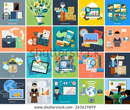 Set of business concepts product presentation, search investors, idea and other in flat design on banners. Can be used for web banners, marketing and promotional materials, presentation templates - stock vector