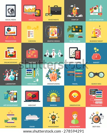 Set of business concepts product presentation, search investors, social media, analysis, investments, start up, seo, graphic design, pay per click, online booking, team, digital devices in flat design - stock vector