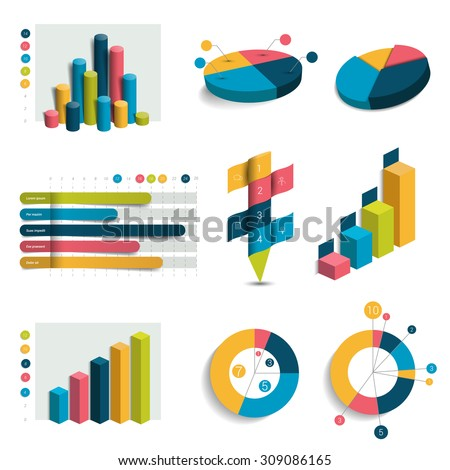 Set of business 3D design graphs, charts. Colummn, cubes, circle design. Infographics. - stock vector