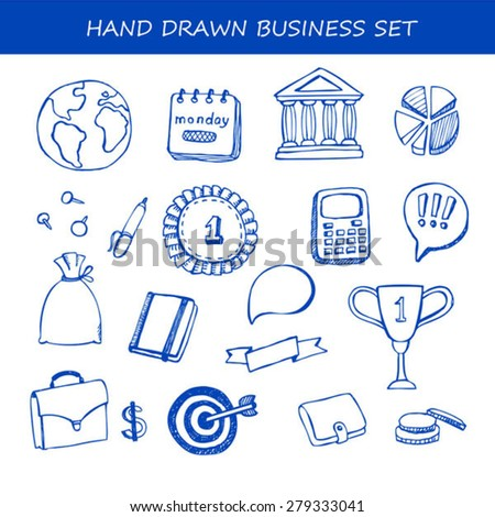 Set of business doodle hand drawn vector elements