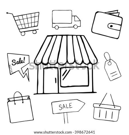 Set of business doodle icons, vector shopping icons for design, hand drawn shop, sale, shopping bag, basket objects - stock vector