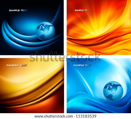 Set of business elegant colorful abstract backgrounds. Vector illustration - stock vector