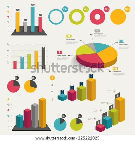 Set of business flat, 3D design graph. Infographics charts.  - stock vector