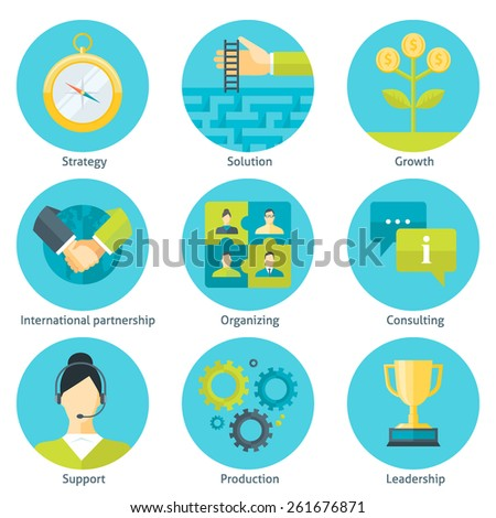 Set of business flat design style colorful vector illustration icons: strategy, solution, growth, international partnership, organizing, consulting, support, production, leadership isolated on white - stock vector