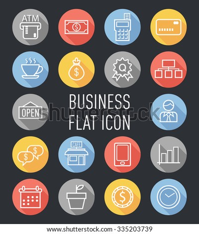 set of business flat icon - stock vector