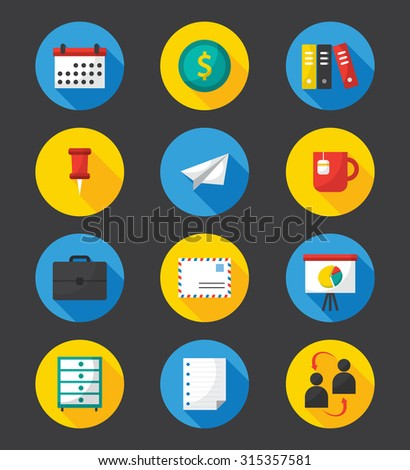 set of business flat icons - stock vector