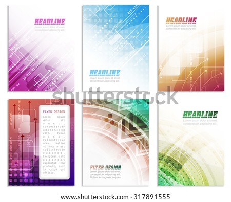 Set of business flyer template, brochure or corporate banner with abstract technology pattern, vector illustration for your creative design. - stock vector