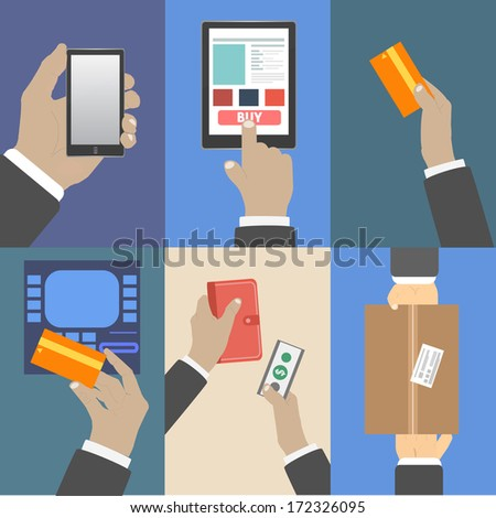 Set of business hands action concepts e-commerce - stock vector