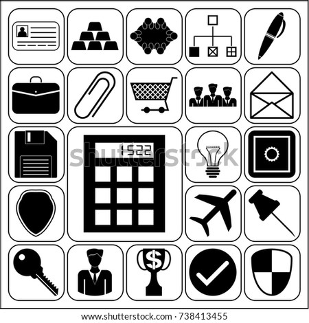 Set 22 business icons symbols collection stock vector 736466296 set of 22 business high quality icons or symbols collection flat design vector yadclub Image collections